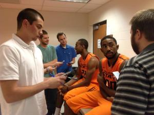 Interviewing Michael Cobbins at OSU basketball Media Day